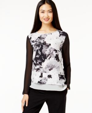 Dknyc Floral-print Layered-hem Top