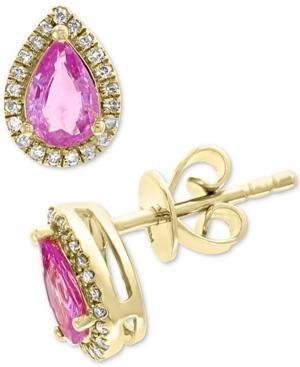 Effy Pink Sapphire (9/10 Ct. T.w.) & Diamond (1/8 Ct. T.w.) Earrings In 14k Gold