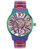 Betsey Johnson Watch, Women's Rainbow Stainless Steel Bracelet 39mm Bj00040-11