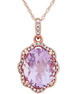 Amethyst (2-5/6 Ct. T.w.) & Diamond (1/10 Ct. T.w.) Pendant Necklace In 10k Rose Gold