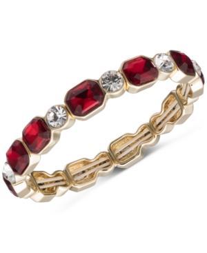 Anne Klein Gold-tone Crystal & Red Stone Stretch Bracelet