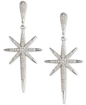 Abs By Allen Schwartz Silver-tone Crystal Starburst Drop Earrings