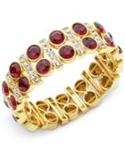 Anne Klein Gold-tone Stone And Pave Stretch Bracelet