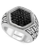 Effy Men's Black Sapphire Ring (1-1/4 Ct. T.w.) In Sterling Silver And Black Rhodium