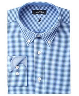Nautica Men's Classic/regular Fit Comfort Stretch Wrinkle Free Gingham Dress Shirt