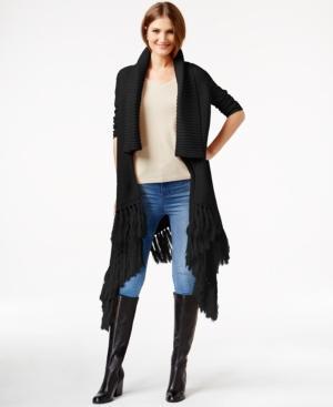Dknyc Shawl-collar Fringed Sweater Vest