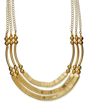 Style&co. Necklace, Gold Tone Tubular Three-row Statement Necklace