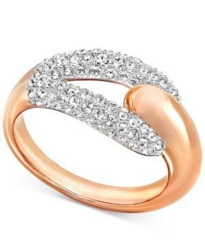 Swarovski Rose Gold-tone Crystal Pave Statement Ring
