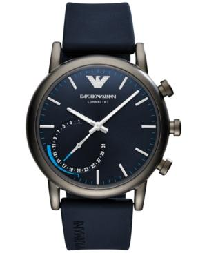Emporio Armani Men's Connected Blue Rubber Strap Hybrid Smart Watch 43mm