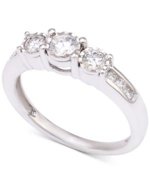 Diamond Three-stone Engagement Ring (1/2 Ct. T.w.) In 14k White Gold