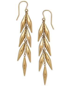 Vine-inspired Linear Drop Earrings In 14k Gold