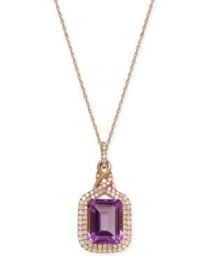 Amethyst (3 Ct. T.w.) And Diamond (3/8 Ct. T.w.) Pendant Necklace In 14k Rose Gold