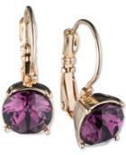 Nine West Gold-tone Purple Stone Drop Earrings