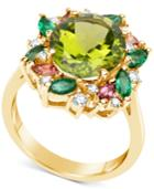 Multi-gemstone (5-1/2 Ct. T.w.) & Diamond (1/5 Ct. T.w.) Ring In 14k Gold