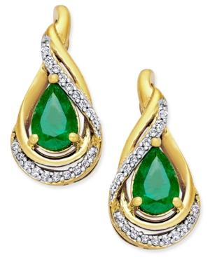 Emerald (3/4 Ct. T.w.) And Diamond (1/10 Ct. T.w.) Stud Earrings In 14k Gold