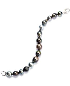 Pearl Bracelet, Sterling Silver Multicolor Cultured Tahitian Pearl Baroque Bracelet (9-11mm)