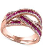 Rosa By Effy Ruby (1 Ct. T.w.) And Diamond (3/8 Ct. T.w.) Interwoven Ring In 14k Rose Gold