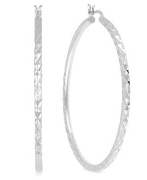 Touch Of Silver Silver-plated Brass Earrings, 50mm Rope Hoop Earrings