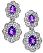 Amethyst And White Topaz Flower Drop Earrings In Sterling Silver (4-3/8 Ct. T.w.)