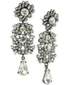 Abs By Allen Schwartz Hematite-tone Crystal Cluster Chandelier Earrings