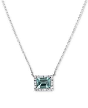 Aquamarine (1-5/8 Ct. T.w.) & Diamond (1/6 Ct. T.w.) 16 Pendant Necklace In 14k White Gold