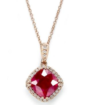 Rosa By Effy 14k Rose Gold Necklace, Ruby (3-1/8 Ct. T.w.) And Diamond (1/6 Ct. T.w.) Pendant