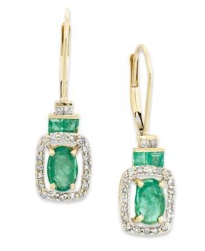 14k Gold Earrings, Emerald (1-1/6 Ct. T.w.) And Diamond (1/5 Ct. T.w.) Rectangle Drop Earrings