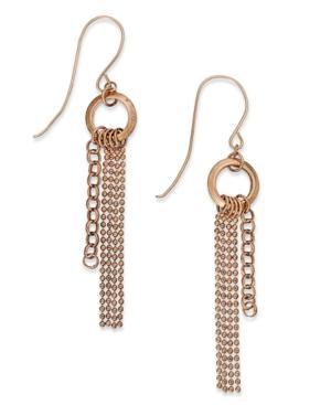 14k Rose Gold Earrings, Tassel Drop Earrings