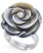 Tahitian Mother-of-pearl Carved Rose Ring In Sterling Silver