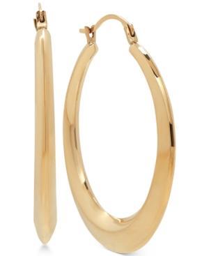 Round Graduated Hoop Earrings In 14k Gold