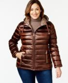 Calvin Klein Plus Size Reversible Printed Puffer Coat