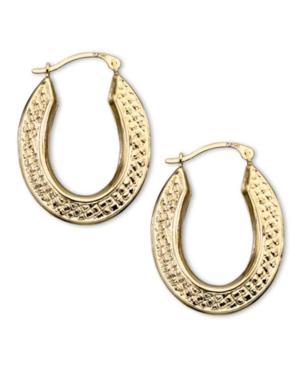 14k Gold Hoop Earrings, Oval Quilt