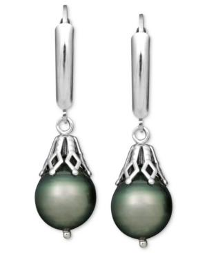 Pearl Earrings, Sterling Silver Tahitian Cultured Pearl Leverback Drop (8mm)