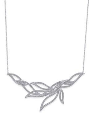 Danori Silver-tone Pave Leaf Necklace
