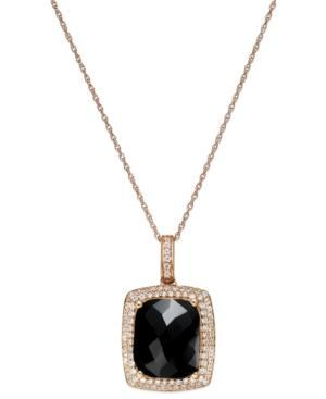 Onyx (1 Ct. T.w.) And Diamond (1/2 Ct. T.w.) Pendant Necklace In 14k Rose Gold