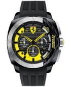 Scuderia Ferrari Men's Chronograph Aerodinamico Black Silicone Strap Watch 46mm 830206
