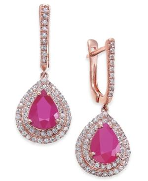 Certified Ruby (5 Ct. T.w.) & White Sapphire (1 Ct. T.w.) Drop Earrings In 14k Rose Gold