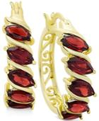 Rhodolite Garnet Hoop Earrings In 18k Gold-plated Sterling Silver
