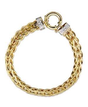 14k Gold Bracelet, Diamond Spiga (1/8 Ct. T.w.)