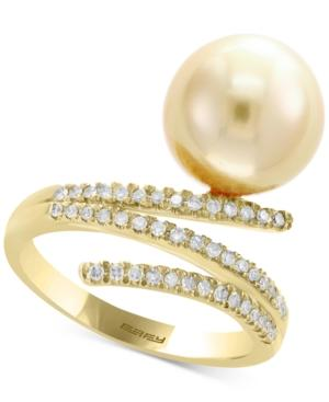 Pearl By Effy Cultured South Sea Pearl (11mm) & Diamond (1/5 Ct. T.w.) Ring In 14k Gold