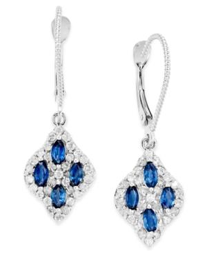 Sapphire (1 Ct. T.w.) And Diamond (3/8 Ct. T.w.) Drop Earrings In 14k White Gold