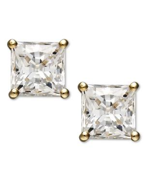 Arabella 14k Gold Earrings, Swarovski Zirconia Princess Cut Stud Earrings (2-3/4 Ct. T.w.)