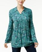 Style & Co Floral-print Bell-sleeve Top, Only At Macy's