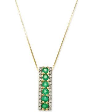 Emerald (3/4 Ct. T.w.) & Diamond (1/4 Ct. T.w.) 18 Pendant Necklace In 14k Gold