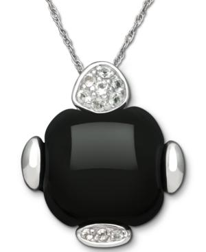 Sterling Silver Necklace, Onyx (15 Ct. T.w.) And White Topaz (1/8 Ct. T.w.) Pendant