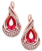 Ruby (9/10 Ct. T.w.) And Diamond (1/10 Ct. T.w.) Stud Earrings In 14k Rose Gold