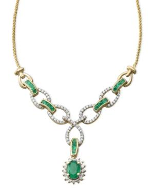14k Gold Necklace, Emerald (1-1/2 Ct. T.w.) And Diamond (1/5 Ct. T.w.) Toggle