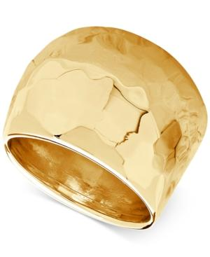 Hammered Wide Dome Ring In 14k Gold