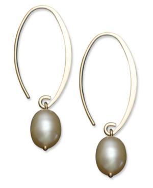 14k Gold Earrings, Cultured Freshwater Pearl Drop