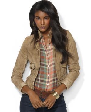 Lauren Jeans Co. Jacket, Leather-trim Tan Denim